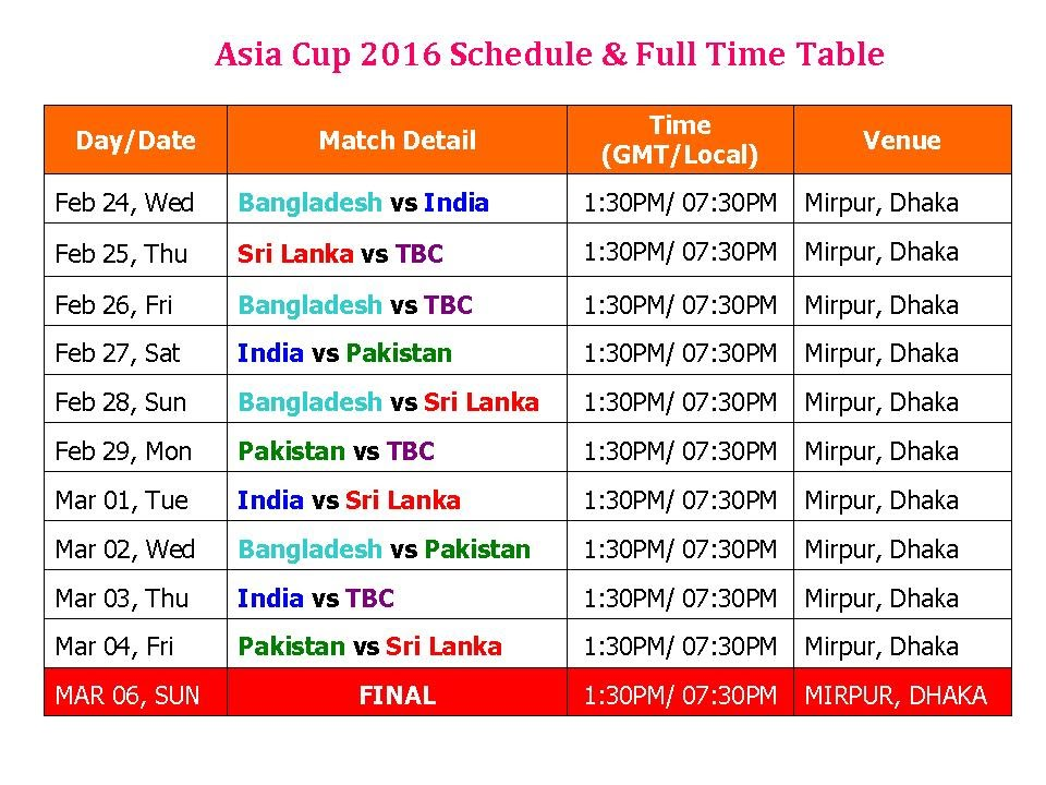 asia cup 2016 schedule