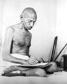 gandhi at writing image