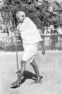 mahatma gandhi alking away