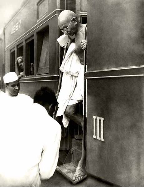 mahatma gandhi in train